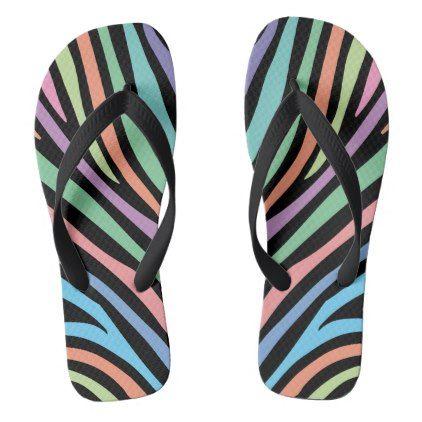 Pastel Tiger Stripes Flip Flops - black gifts unique cool diy customize personalize