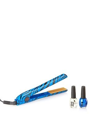 CHI Tribal Zebra Collection Hairstyling Iron, Bold Blue, 1