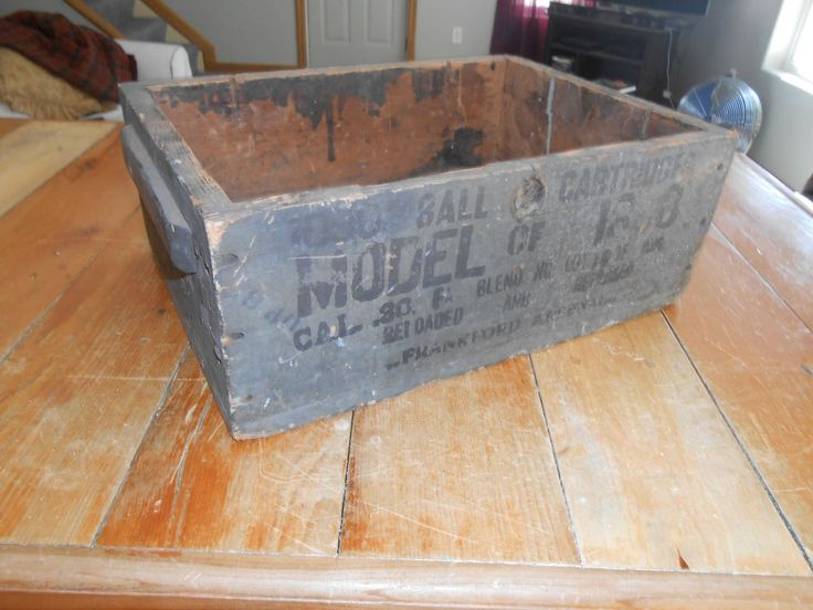 Antique Wooden Shipping Crate - Frankford Arsenal Model 1898 - 30 Caliber Ammo