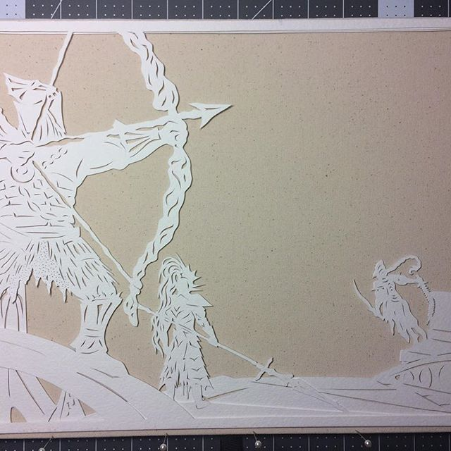 First three layers of this Dark Souls piece are cut out! :D #papercut #handcut #workinprogress #paperart #darksouls