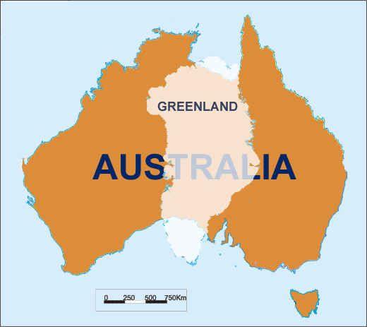 Size comparison of Greenland and Australia.