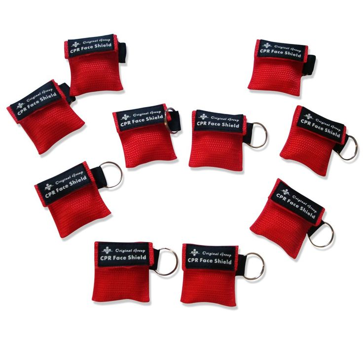 10-Pack Red CPR Mask Key Chain Kit Emegency CPR Face Shields with One-way Valve for First Aid or AED Training