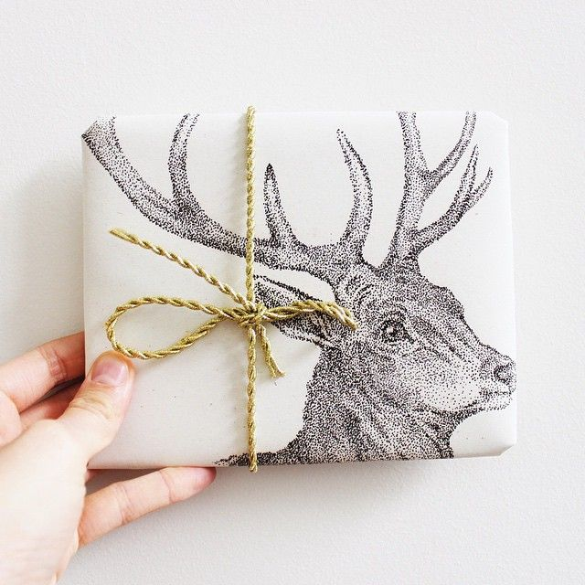 Deer Wrapping Paper - Stippled Ink design.