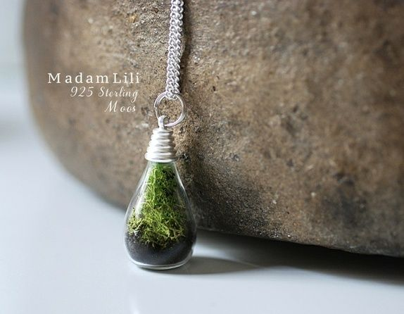 925 Sterling Silver True Moss + Earth Necklace