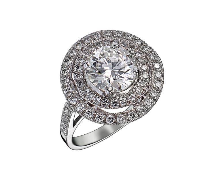 bague or blanc diamant rond