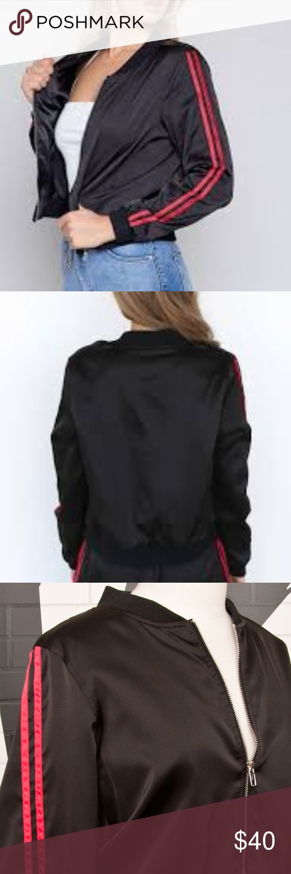 I AM GIA Yohanna Bomber Jacket Lightweight black bomber jacket Double red stripe piping down sleeves Relaxed fit Zip entry Styled with Yohanna Pant Poly fabric I.AM.GIA Jackets & Coats