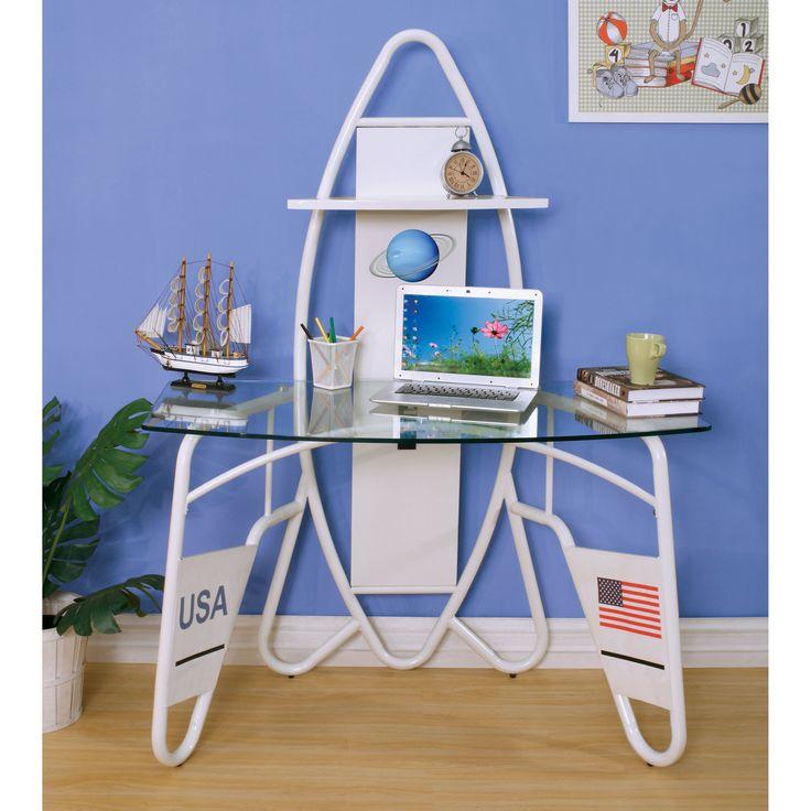Furniture of America Jupiter Space Shuttle-inspired Glass Top White Youth Desk (White)