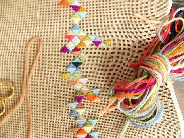 Looks like an interesting & colorful way to use leftover bits of yarn.