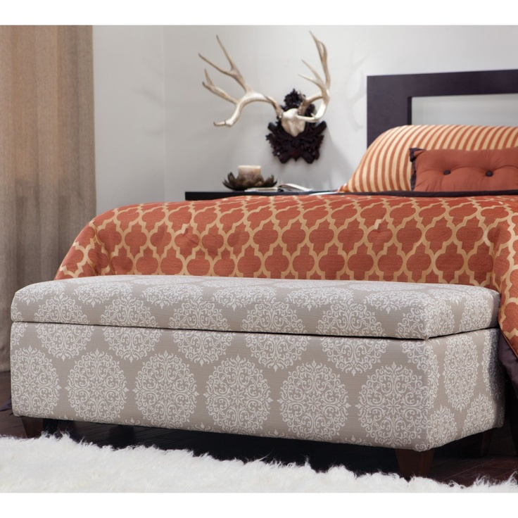 Master Bedroom   Angelo:HOME Kent Storage Bench Ottoman Filigree Cream Tan    Contemporary   Ottomans And Cubes   Hayneedle
