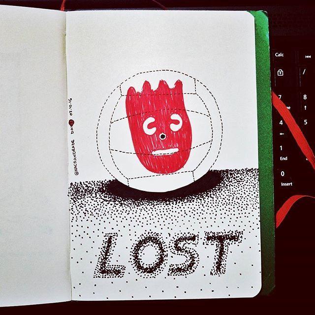 7/31 - Tema Lost - Wilson  #inktober #instart #inktober2016 #nankin #unipin #fineline #octuber #outubro #partiuevoluir #aprentendo #treinando #desenho #arteportodaparte #desenhando #draw  #drawing #onedrawingaday #onesketchaday #sketch #sketchday  #arte #art #lost #perdido #wilson #naufrago #castaway