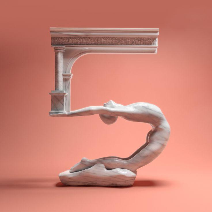 36daysoftype typedesign renascent fine arts digital art 3d illustration Bilfrok