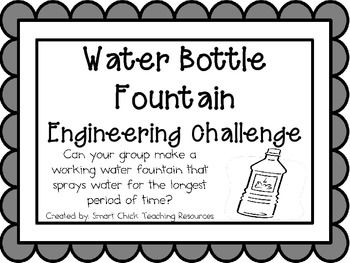 Water Bottle Fountain: Engineering Challenge Project ~ Great STEM Activity!  $
