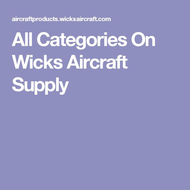 All Categories On Wicks Aircraft Supply