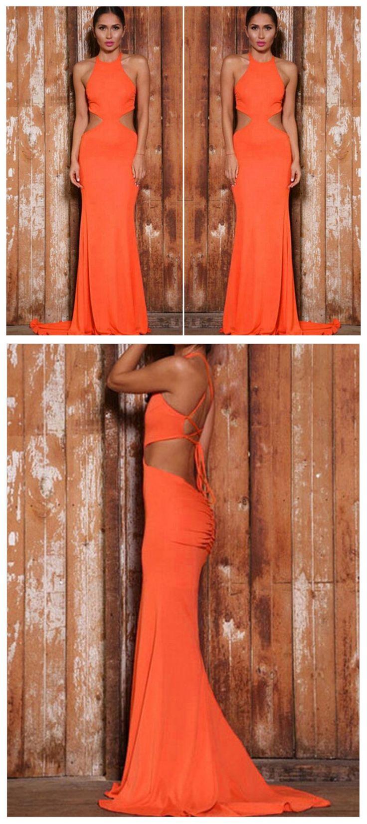 Elegant Sexy Prom Dresses,Orange Prom Dresses,Sleeveless Prom Dresses,Halter
