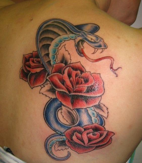 La rose, lorsqu'elle est associée au serpent, elle est la représentation de la perte de l'innocence et de la beauté aux mains d'un être diabolique.