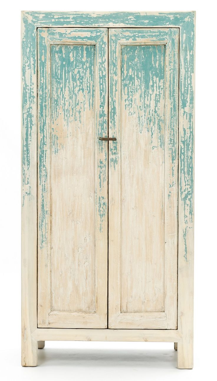 Very interesting take on an older piece of furniture. The colors are calming and cool. The distressing in the paint adds a sense of informality. A neat piece of funiture that could be used as a statement piece, or as part of a themed space.