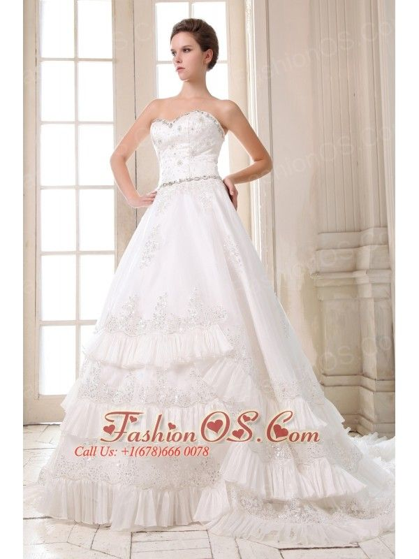 Beautiful Wedding Dress A-line Beading and Appliques Sweetheart Court Train Taffeta- $259.89  http://www.fashionos.com  strapless sleeveless wedding bridal gown   wedding dress around 250   cheap wedding dress on sale  