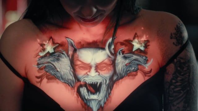 """The first live event of Tattoo Video Mapping. No post-production was used. Created and Produced by Oskar & Gaspar. Agency: FunnyHow? Powered by Desperados. Original soundtrack: """"Love Live"""", by Dj Ride & Holly. Tattoos by Eduardo Cavellucci + Igor Gama."""