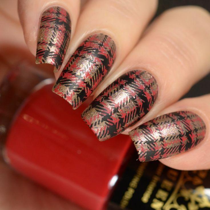 Plaid nail art Stamping design
