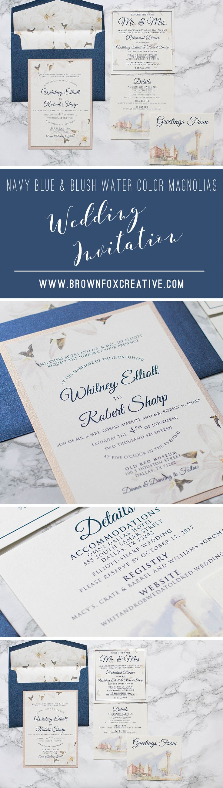luxury wedding invitations dallas%0A Two Layer Navy Blue and Blush Rose Pink  City of Dallas and Magnolias  Themed Wedding