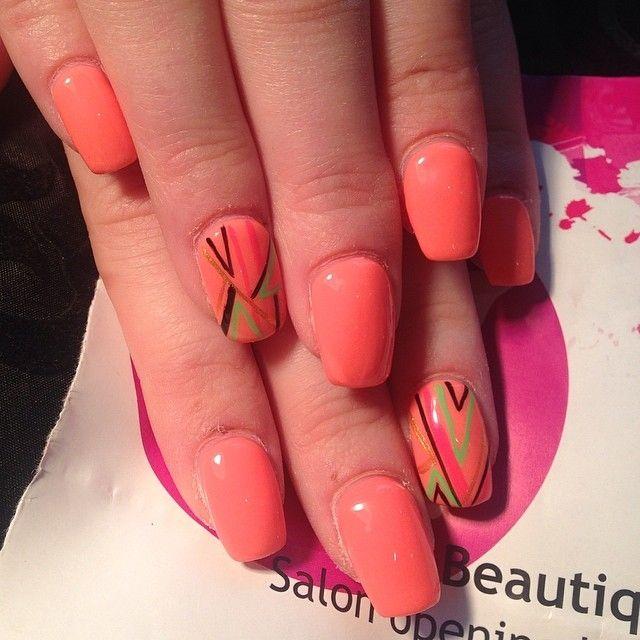 Neon coral gel extensions nails nail neon pretty nails nail art nail ideas nail designs gel nails