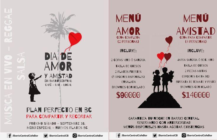 Dia del Amor y Amistad 💖 Sabado 16 Septiembre desde 7pm Musica en vivo - Noche de Reggae Salsa 🎸🎼 y menu especial 🍕🍷🎶🎤 🎊🎉👏👏 #Reserva tu mesa; 540 7965 / 301 570 9107 Live music Reggae Salsa - Love and Friendship Day with a special menu 💖  #BarrioCentralCafeBar #Love #friendship #AmoryAmistad #celebration #música #live #music #bloggers #BarrioCentral #Laureles #La70 #SanJoaquin #bebelocal #barlocal #Medellin  www.facebook.com/BarrioCentralCafeBar