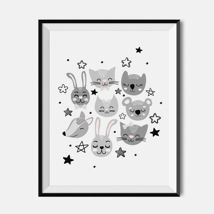 Plakat dla dzieci - Zwierzaki i gwiazdki