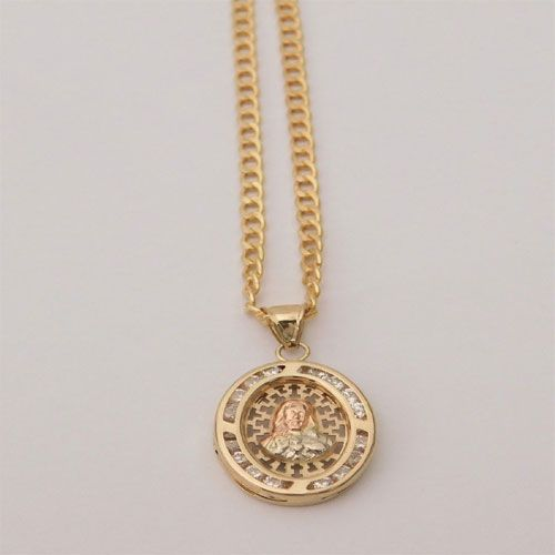 14k yellow rose gold jesus face double side charm pendant cuban 14k yellow rose gold jesus face double side charm pendant cuban chain 18 inch by rgd aloadofball Image collections