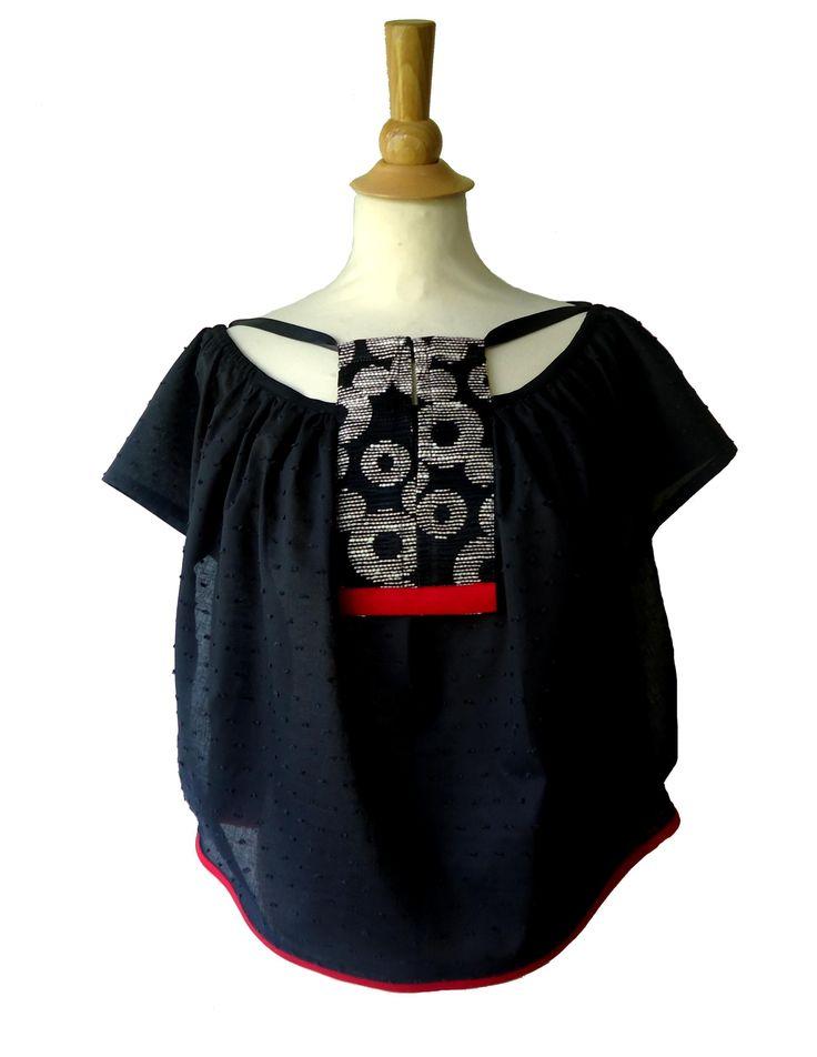 Tunique blouse Takéo noir, écru & rouge Mode japonaise ethnique - YEIHO