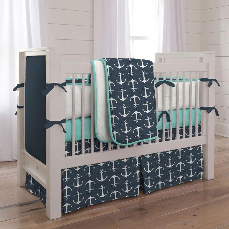 Can't go wrong with a classical nautical theme! Navy Anchors Crib Bedding | Nautical Boy Baby Bedding | Carousel Designs #BoyNursery #CarouselDesigns