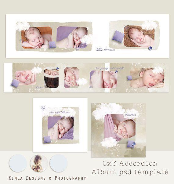 3x3 Accordion Album Template Dreamer .psd template by KimlaDesigns, $9.99