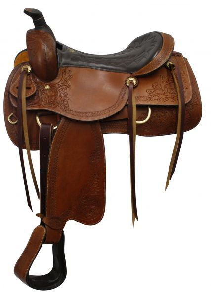 """16"""" Double T Pleasure Style Saddle with Floral tooled accents"""