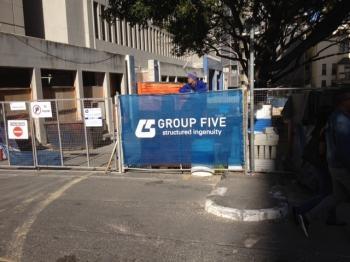 Group Five Printed Shadenet Fence Branding printed on shade net .