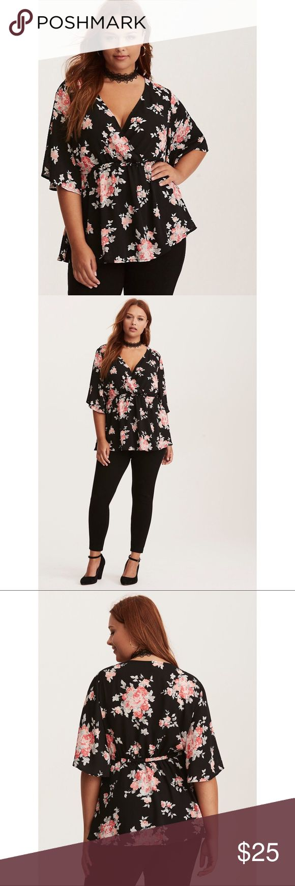 "NWT Torrid Floral Surplice Babydoll Top Whoever said ""don't flatter yourself"" obviously didn't have a top like this. Designed with flow in mind, the semi-sheer black georgette is detailed with a femme grey and pink floral print. The flattery gets you everywhere - from the bust-accentuating surplice neckline, to the tummy-concealing stretch babydoll waist, to the flutter sleeves. Torrid size 0  Model is 5'10"", size 1 Size 1 measures 29 1/4"" from Shoulder torrid Tops Blouses"