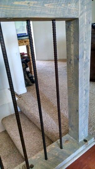 Rebar banister for lower part of stairs to family room