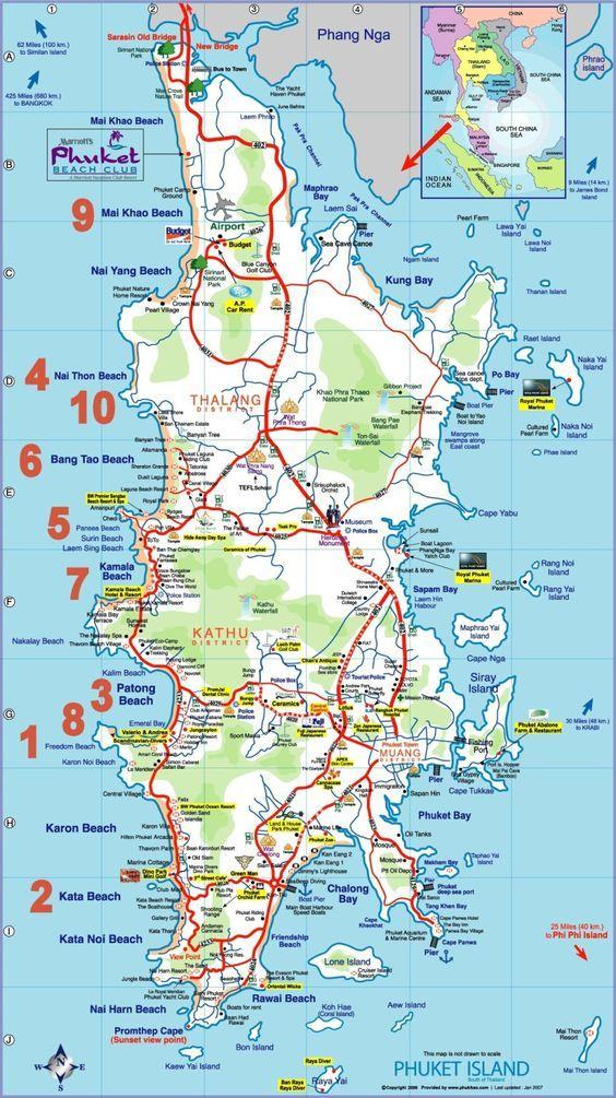 Carte Cote Ouest Thailande.Top 10 Des Plus Belles Plages De Phuket En Thailande Carte