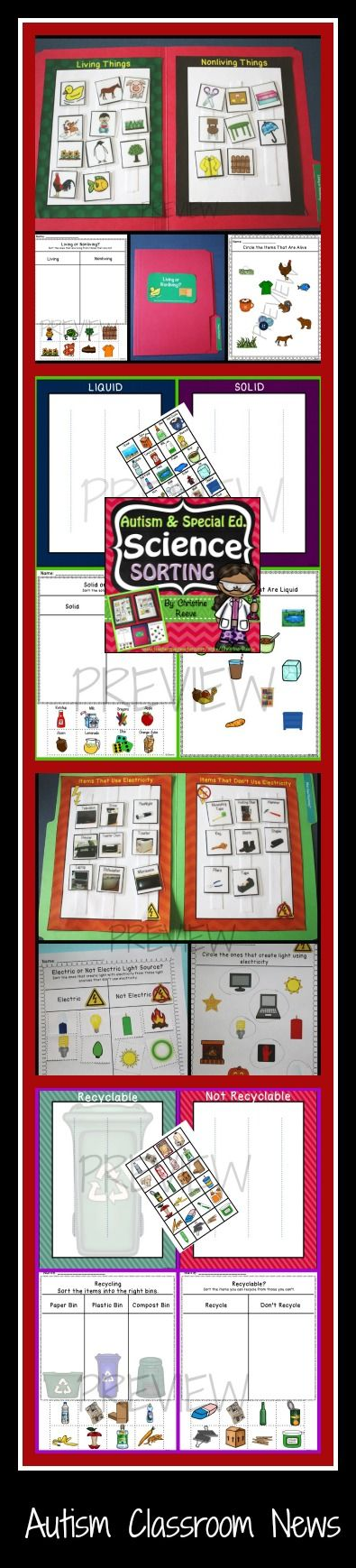 Download the preview for a free print-and-go activity. Science sorting for functional elementary science in special education. Seven file folder activities with 25 print-and-go activities focused on recycling, electricity, solid/liquid, and living/non-living. $4