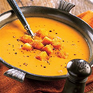 Pumpkin Soup Enjoy the rich flavors of fall with this simple soup. It's ready in 20 minutes.