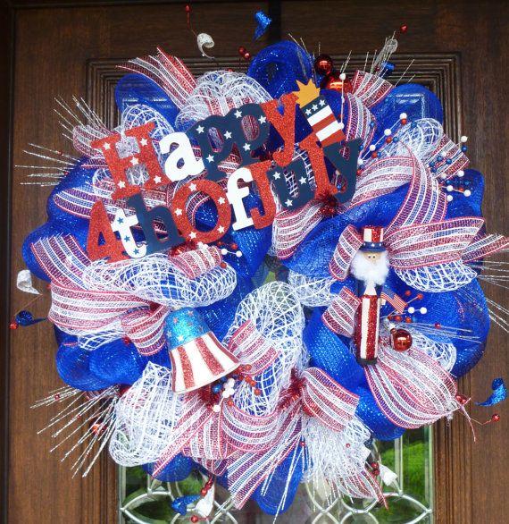Deco Mesh HAPPY FOURTH of JULY Wreath