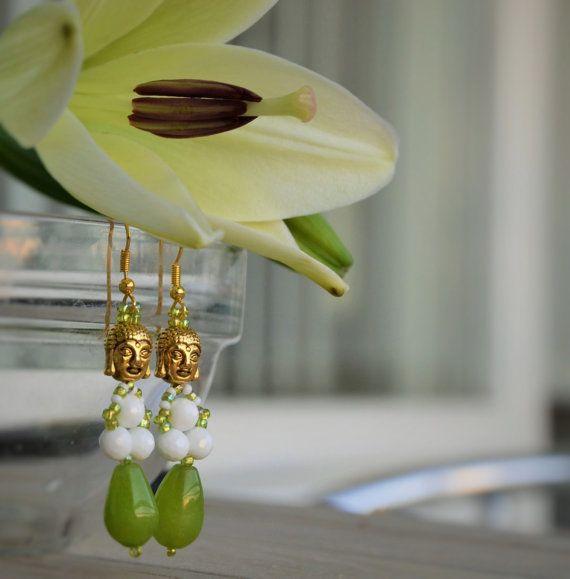 Earrings for emotional balance Buddha. Made using:  - Buddha bead Tibet. Brass/antique gold,  - Jade bead, yellow-green-olive, - Czech Beads