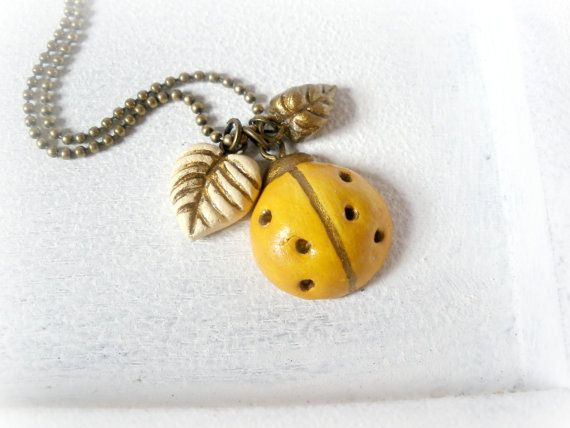 Yellow ladybug charm necklace - clay leaves mustard bug golden gold beetle woodland floral autumn fall botanical jewelry nature inspired