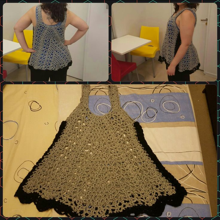 Musculosa / vestido tejido al Crochet - T: adulto