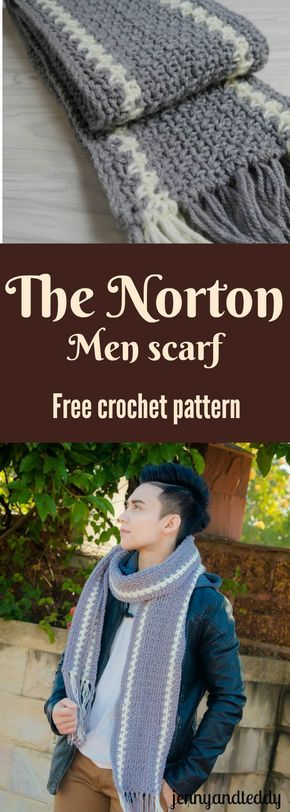 The Norton men scarf free crochet pattern for your special guy follow along with easy pattern and beginner friendly by jennyandteddy.