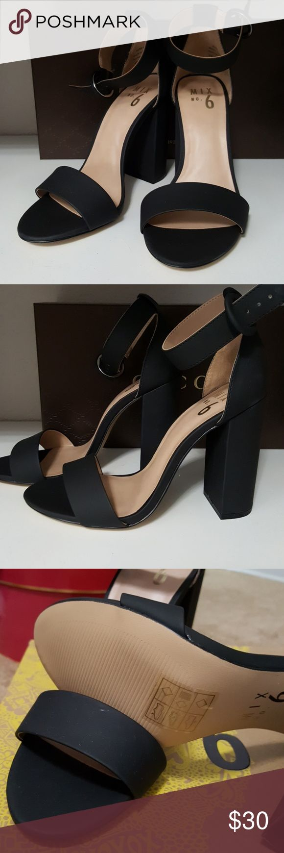 """Mix No. 6 Open Toe Black High Heel Chic and sassy open toe black high heels. Purchased from DSW but never wore. The heels are too high for me. Heel height is 4.25"""". Blocked heel. This pair is the same as seen on Olivia Culpo.   Shoe size is 7 medium  These are new with box, never worn.  https://www.popsugar.com/fashion/Olivia-Culpo-Fashion-Interview-April-2017-43444174 Mix No. 6 Shoes Heels"""