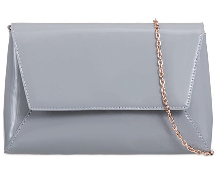 Grey glossy faux patent leather envelope style clutch bag shoulder bag The bag has a detachable gold tone metal chain shoulder strap for two