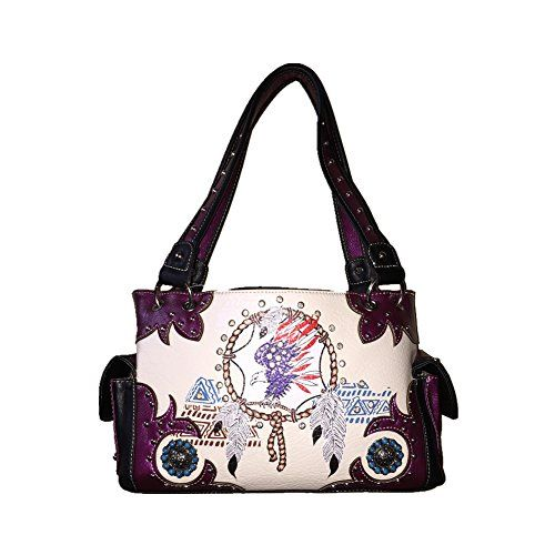 Ameican Eagle Indian Feather Concho Concealed Carry Purse Handbag with Matching Wallet One Set in 5 Colors Black Blue Purple Green and Hot Pink Eagle feather Purple Set ** You can get additional details at the image link.