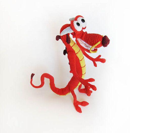 toy dragon handmade disney Mulan dragon puppet crochet by PetsLair