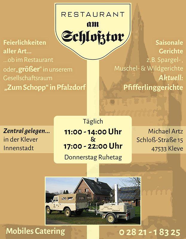 Restaurant am Schlosstor Kleve - Anzeigengestaltung DIN A7