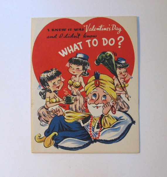 Vintage 1948 A Novo Laugh Valentine card. Harem girls