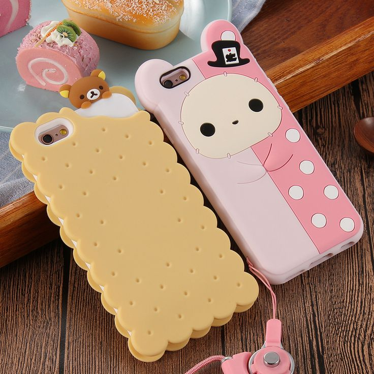 Phone Cases For Apple iPhone 6 6s Plus 5 5s Case Cute 3D Cartoon Biscuit Case Soft Silicon Cover Couque For iPhone6 Souple